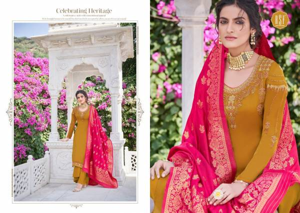 RSF Nargis Series 18101-18106 Pure Satin Georgette With Coding Work & Additional Diamond Work Long Traditional Wear Suits Collection