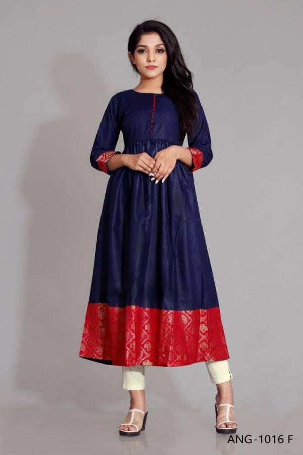 12 Angel ANG -1016 Rubby Silk with Banarasi Jacquard Border Designer Kurti Collection