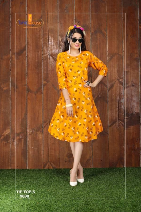 Tunic House Tip Top Vol 5 Viscose Rayon Fancy Printed Work Designer Kurti Collection