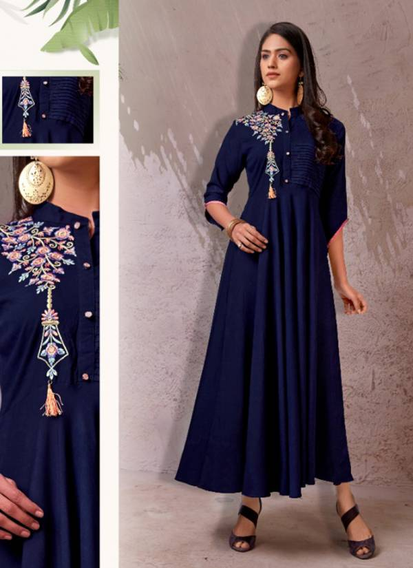 Vardan Designer Fame Vol 2 Series 6035-6038 Heavy Rayon With Embroidery Work Latest Designer Long Kurtis Collection