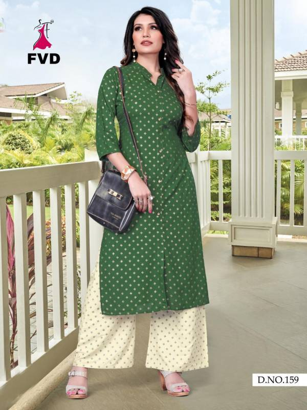 Fashion Valley Dress Kites Vol 1 Series 155-159 Pure Rayon Foil Printed Fancy Casual Wear Kurtis With Palazzo Collection