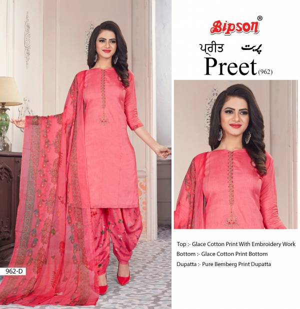 Bipson Preet 962 Pure Glace Cotton Printed With Embroidery Work Patiyala Suits Collection