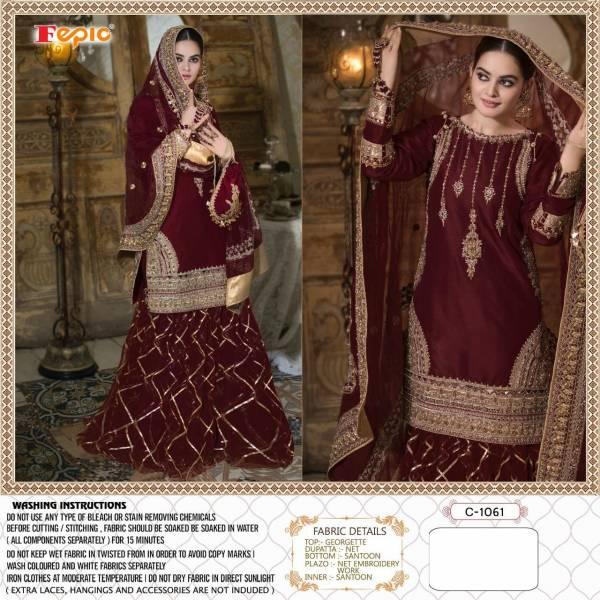 Fepic Rosemeen Sufia Series C-1061 - C-1061C Georgette Embroidery With Heavy Hand Work Latest Designer Wedding Wear Pakistani Suits Collection