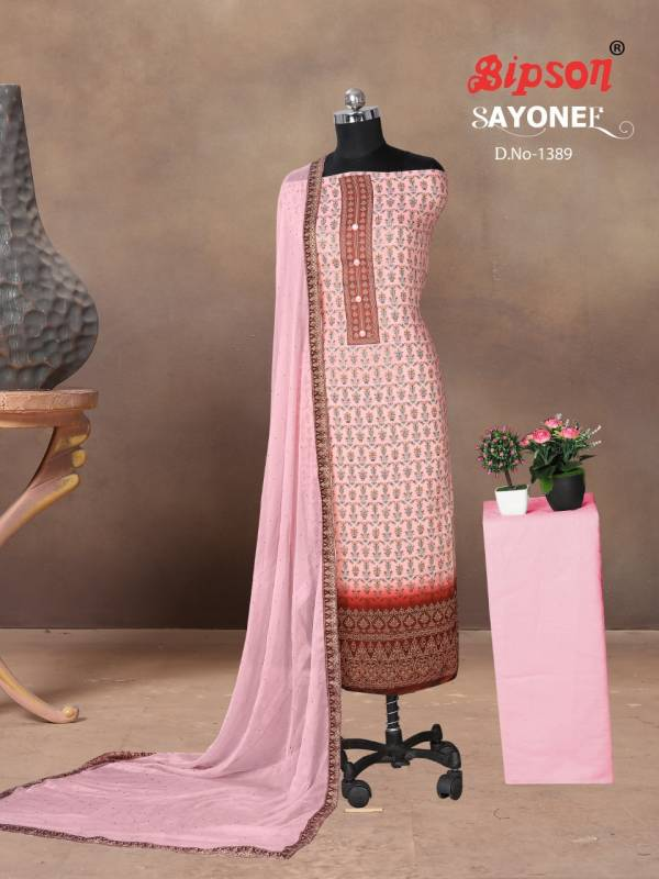 Bipson Sayonee Cotton Satin With Digital Printed Non Catalog Dress Material Collection