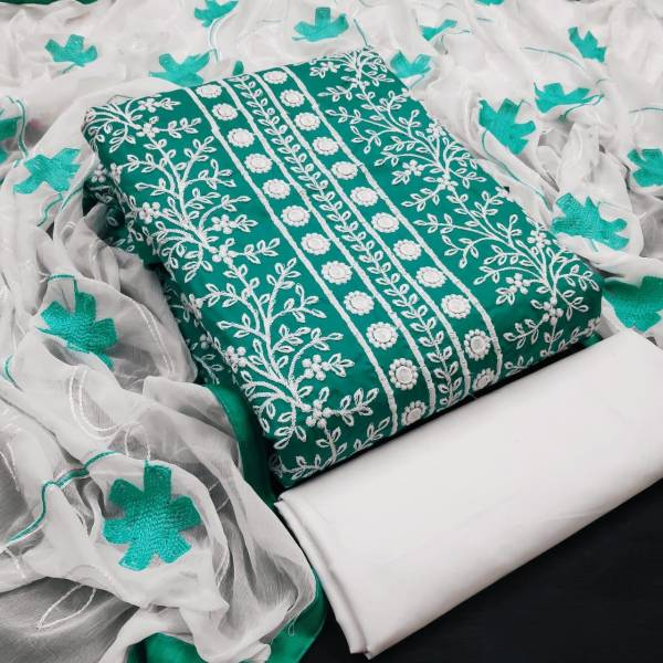 Designer Suit Cotton Rajjo Embroidery Work Dress Material Collection
