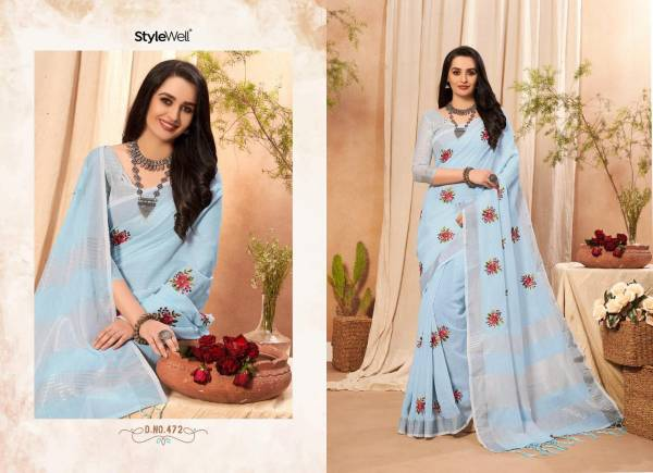Style Well  Kavya Vol-3 Linen Cotton Zari Pallu With Fancy Embroidery Work Designer Sarees Collection