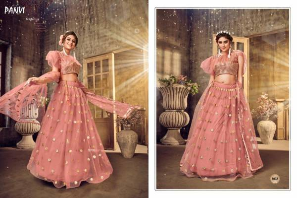 Panvi Blossom Series 1030-1034 Soft Net With Cotton Inner With Fancy Mirror Work Designer Party Wear Lehenga Choli Collection