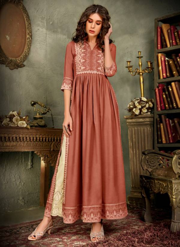 Maisha Maskeen Ji Nazneen Series 1501-1504 Pure Rayon With Printed & Haevy Hand Work Exclusive Designer Long Kurtis With Lucknowi Work Fancy Bottoms Collection