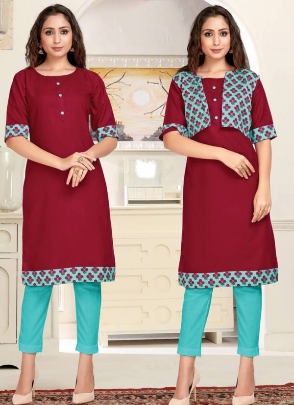 Tunic House Rumani NX Slub Cotton Fancy Printed Jacket Casual Wear Designer Kurtis Collection