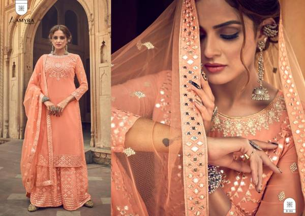 Aamyra Designer Darpan Series 101-104 Heavy Georgette With Heavy Mirror Embroidery Work Designer Eid Special Palazzo Suits Collection