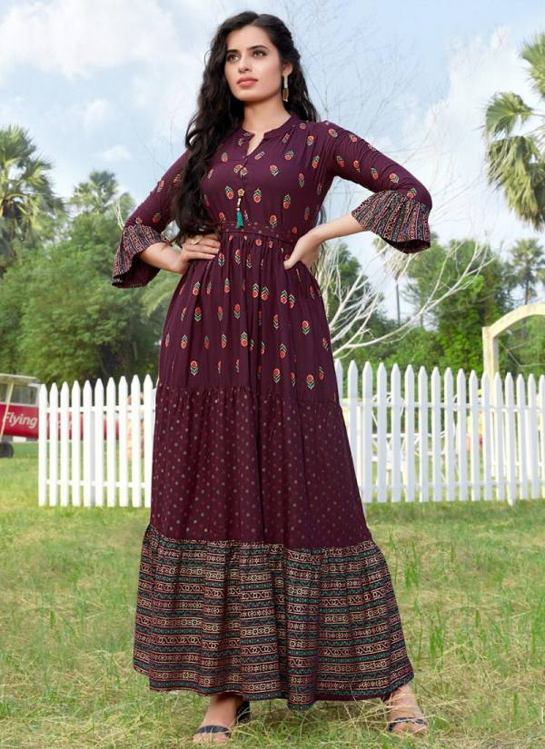 Vee Fab Bournvilla Vol 5 Series 501-510 Heavy Rayon With Multi Foil Printed New Designer Casual Wear Long Gowns Collection