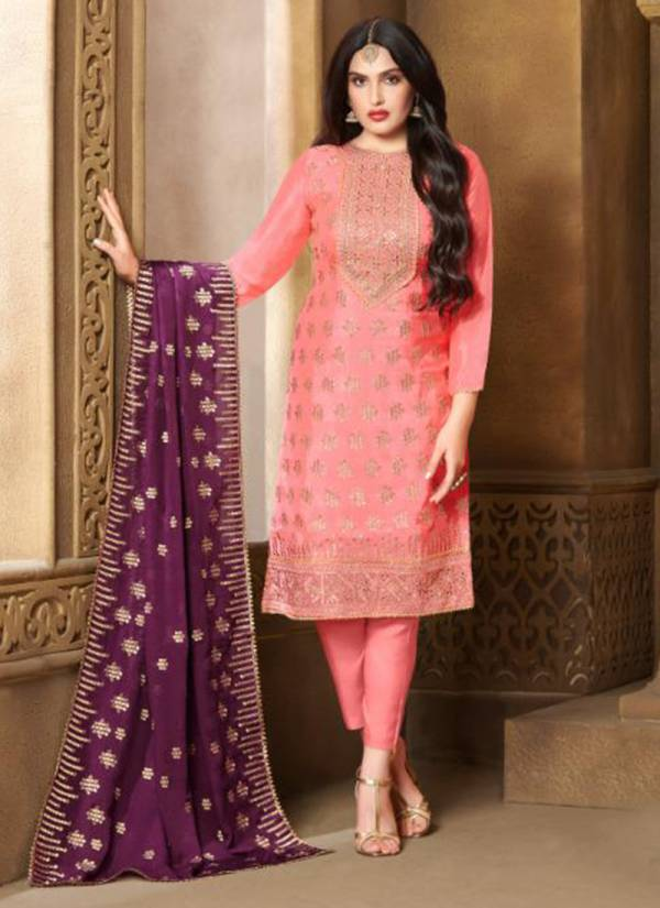 Your Choice Iconic Series 3507-3510 Heavy Chinnon With Fancy Work Latest Party Wear Designer Straight Suits Collection