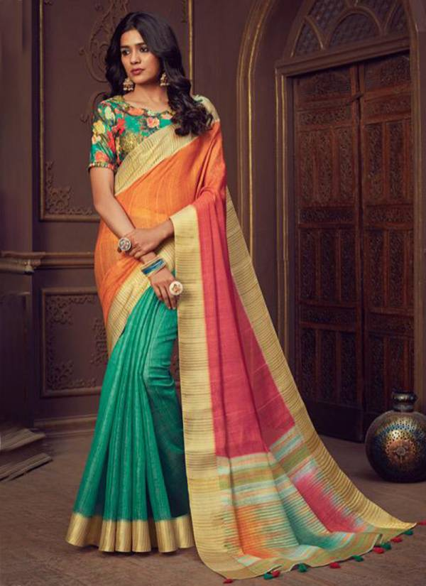 Heart Soul Handloom Silk With Digital Print Blouse Traditional Wear Saree Collections