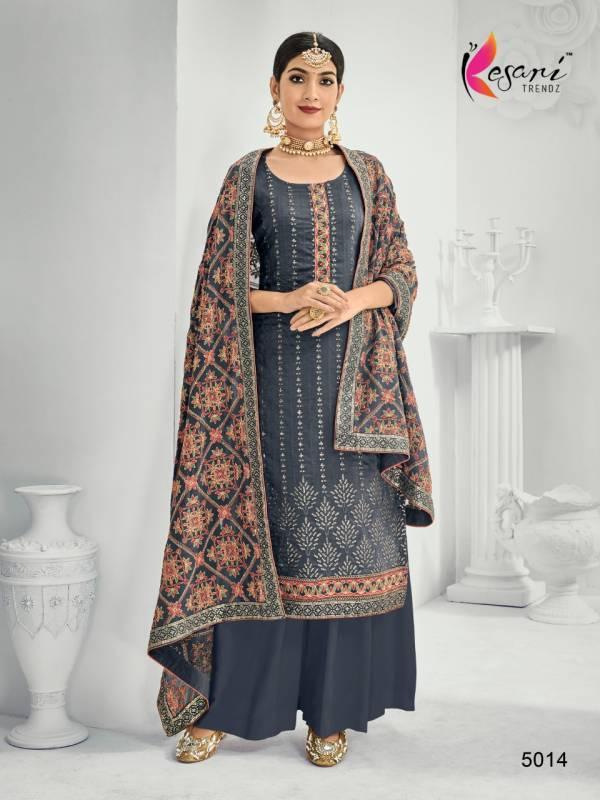 Kesari Trendz Simran Vol 3 Series 5011-5014 Heavy Chinnon With Heavy Embroidery Work Exclusive Designer Palazzo Suits Collection
