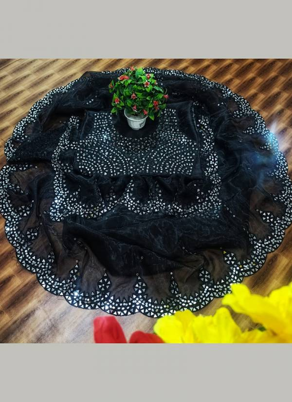 Razzo Export Real Mirror Series 01-06 Organza Silk With Thread And Mirror Work Party Wear Exclusive Designer Sarees Collection