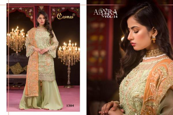 Cosmos Aayra Vol 14 Series 1301-1306 Faux Georgette With Heavy Pearl Embroidery Work Eid Special Pakistani Suits Collection