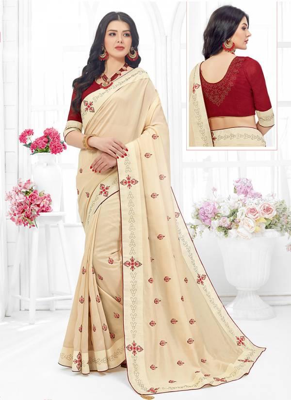 Ishika Lavanya Series 5121-5128 Fancy Fabric With Stylish Embroidery Work Sarees Collcetion