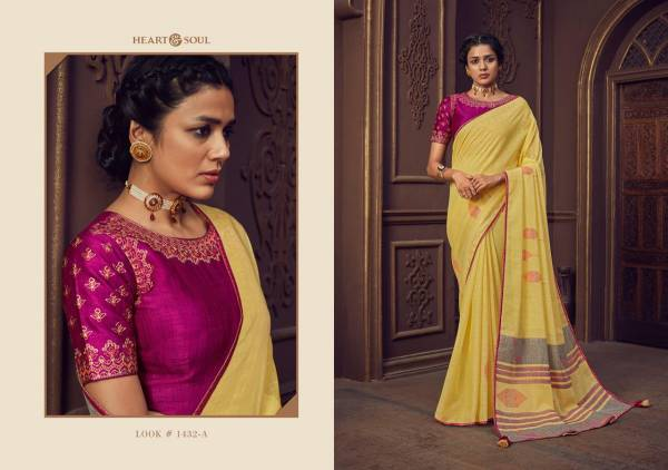 Heart And Soul Linen Weaving Thread Work Sarees With Readymade Blouses Collection (Only Stitched Blouse Size:38)