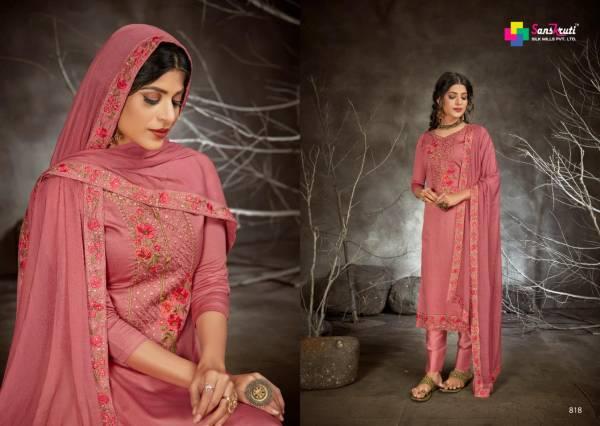 Sanskruti Kishana 5 Series 813-818 Pure Jam Silk With Heavy Embroidery & Hand Work Salwar Suits Collection