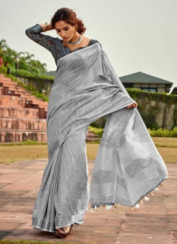 Rajyog Abhirupi Silk Series 3001ABHIRUPI-3006ABHIRUPI Soft Linen Silk With Khadi Printed Designer Festival Wear Sarees Collection