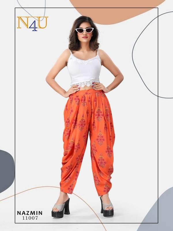 Neha Fashion Nazmin Series 11001-11007 New Designer Rayon Printed Dhoti Pant Collection