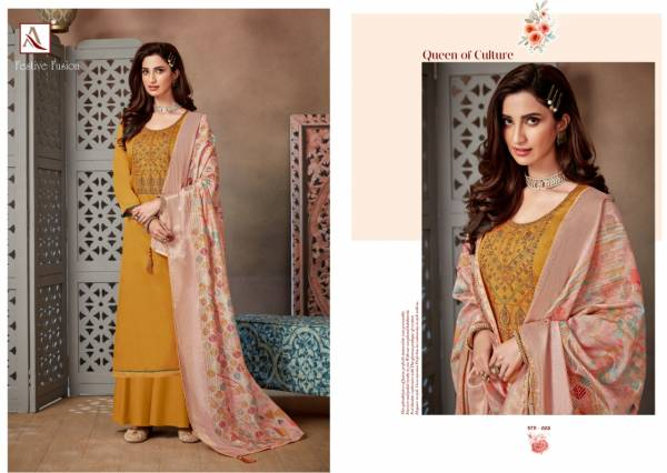 Alok Suit Festive Fusion Pure Zam Cotton Dyed With Fancy Embroidery And Swarovski Diamond Work Treading Wear Designer Palazzo Suits Collection