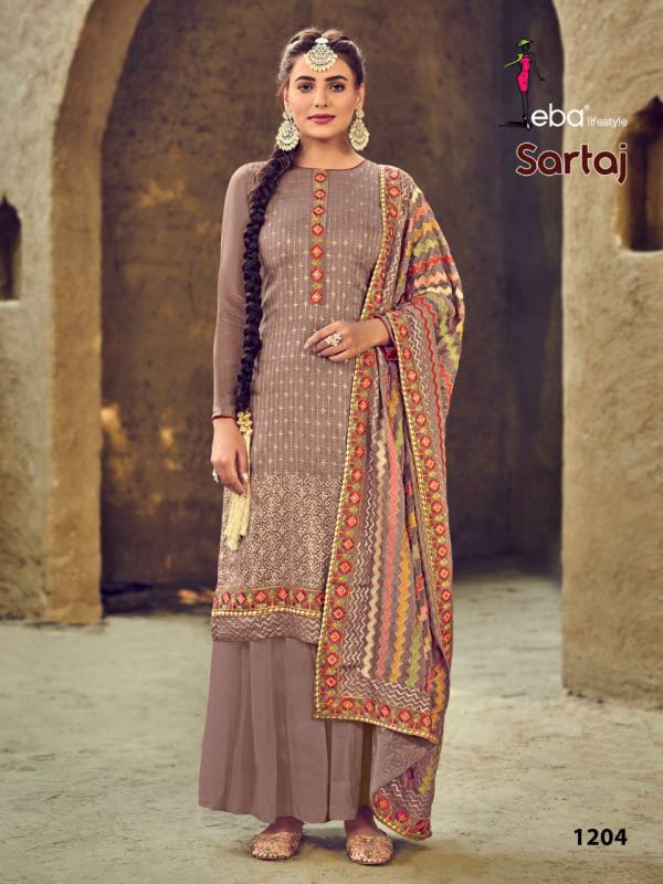 Eba Lifestyle Sartaj Series 1204-1206 Heavy Faux Georgette With Embroidery Work New Designer Festival Wear Palazzo Suits Collection