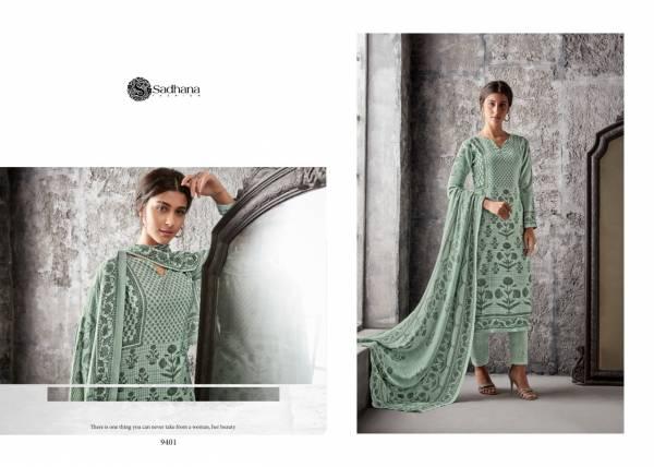 Sanskruti Sadhana 34 Series 9398-9407 Fancy Wrork With Pure Pashmina Suits Winter Season Suits Collection