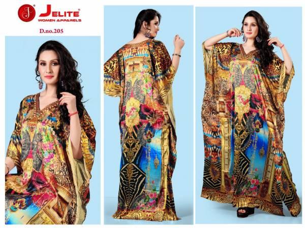 Jelite Kaftans Smooth Satin Fancy Digital Print Designer Kaftans Collection