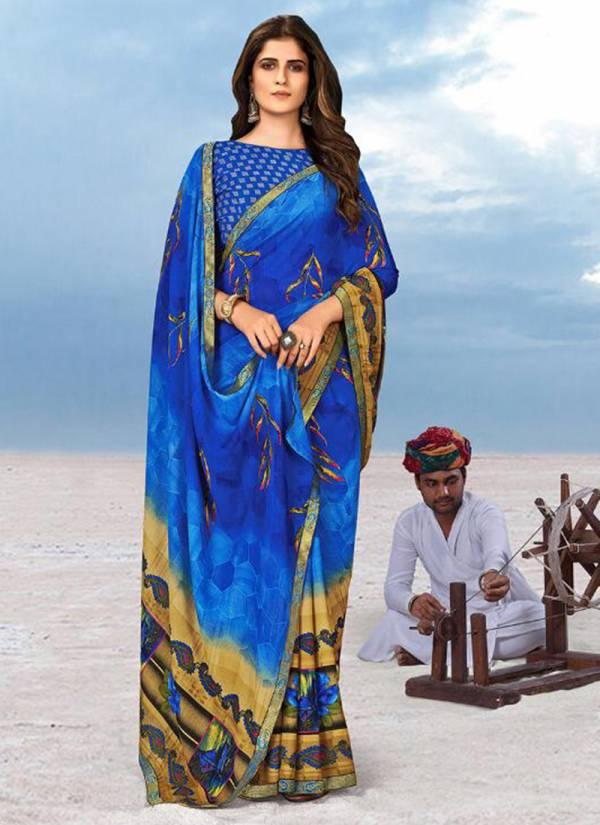 Saroj Megha Georgette Printed Work Regular Wear Designer Sarees Collection