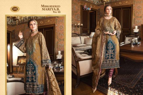 Shree Fab Mbroidered Mariya B Vol 12 Series 1489-1494 Pure Organza Net With Heavy Embroidery Work Wedding Wear Pakistani Suits Collection