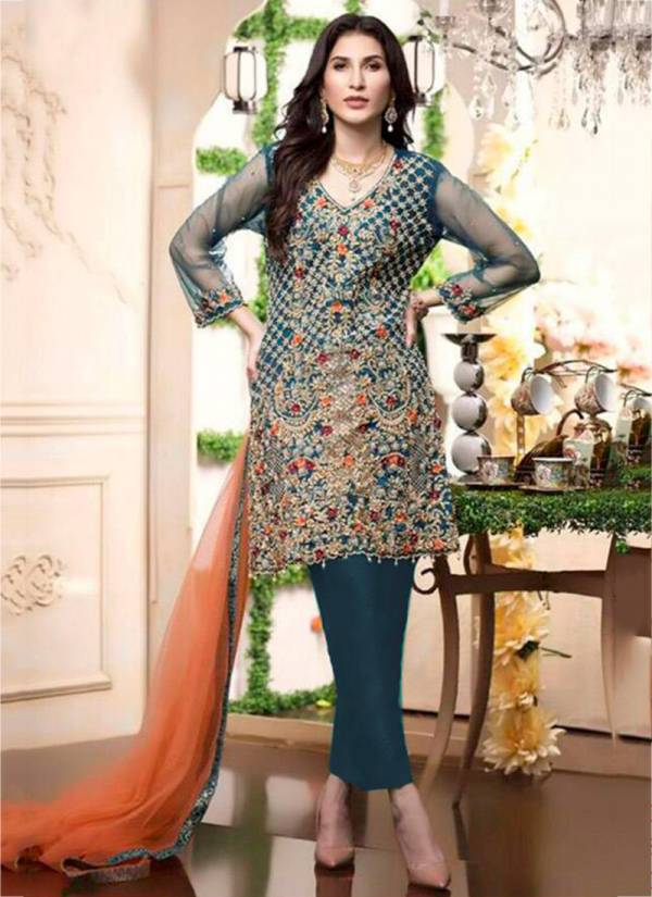 Ramsha Series R-238-R-241 Butterfly Net With Heavy Embroidery Work Latest Designer Party Wear Pakistani Suits Collection