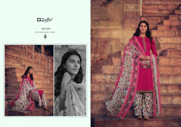Zulfat Designer Suits Husna-E-Patiala Series 305-001 - 305-010 Pure Heavy Jam Cotton With Kashmiri Style Tie And Daman Stitched Lace Stylish Look Palazzo Suits Collection