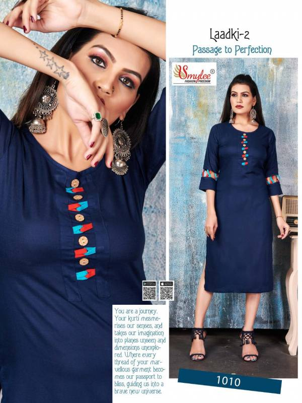 Rung Laadki Vol 2 Series 1001-1010 Heavy Rayon With Fancy Work Daily Wear Kurtis Collection
