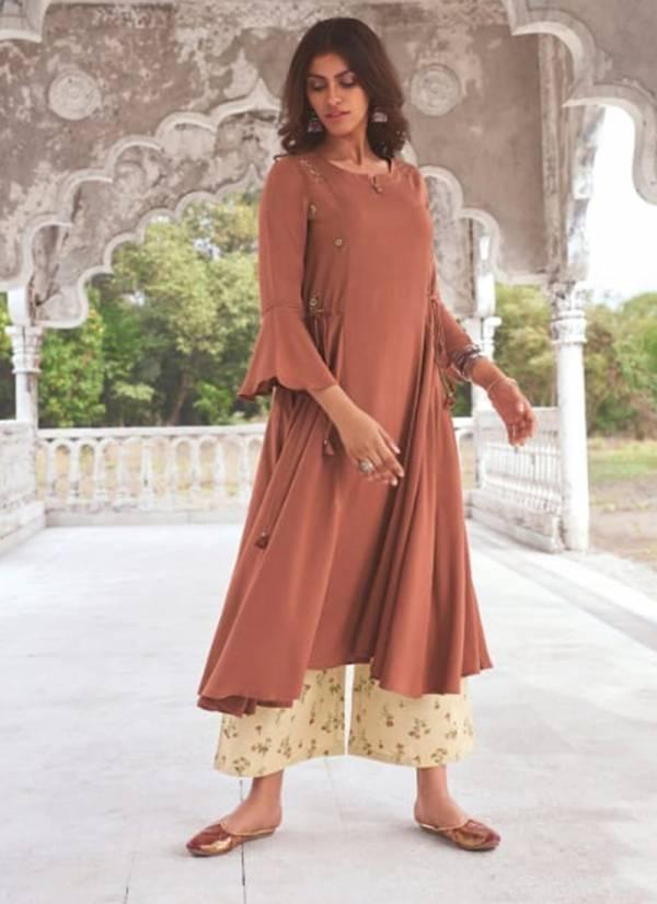 Om Tex Jansi Sundari J-61 - J-68 Super Fine Modal Khadi With Fancy Embroidery Work New Designer Long Kurtis With Palazzo Collection