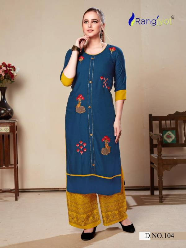 Rangjyot Morie Vol 1 Heavy Rayon With Embroidery Work Casual Palazzo Kurti Collection