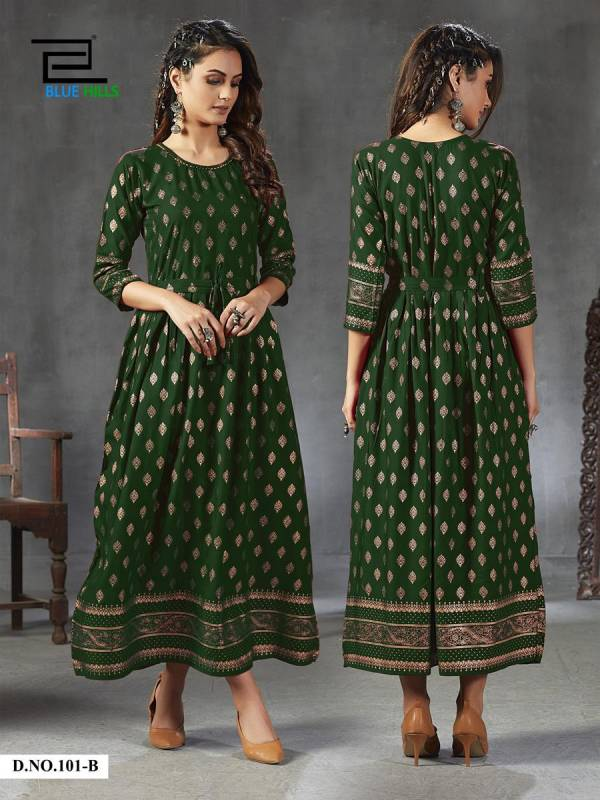 Blue Hills Gold Fever Series 101A-101E Rayon With Designer Hand Work Casual Wear Long Kurti Collection