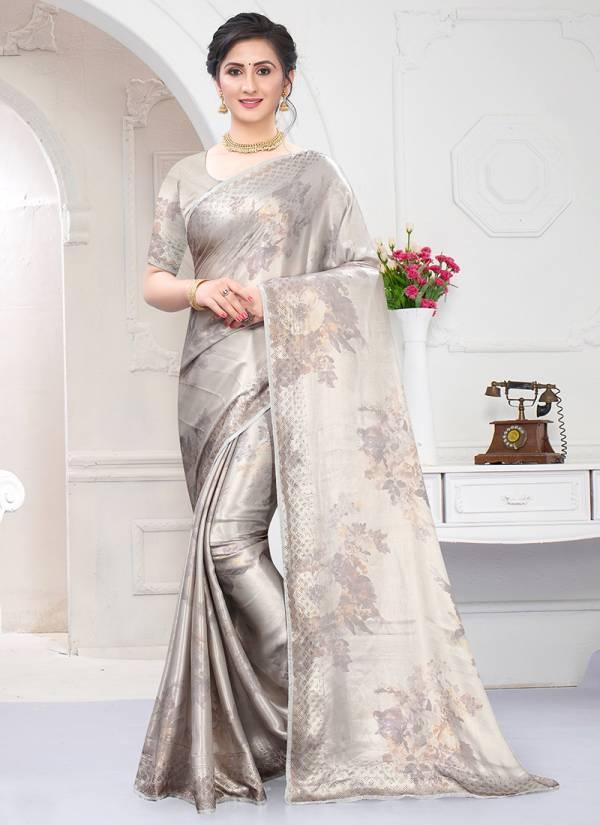 Nari Fashion Chandani Pure Satin Silk Digital Print Party Wear Saree Collections