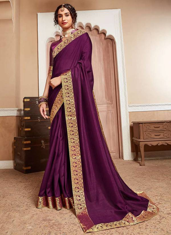 Kalista Fashion Aayushi Series AA601-AA606 Fancy Lace Border Work New Designer Party Wear Vichitra Silk Sarees Collection