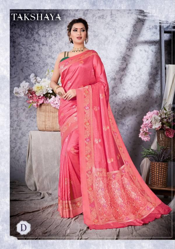 Takshaya Sarees Nandini Series A-E Art Soft Silk Zari Weaving Traditional Wear Sarees Collection
