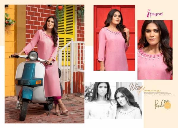 Psyna Pixcel Series 1001-1008 Rayon Slub Straight Embroidery & Hand Work New Designer Daily Wear Kurtis Collection