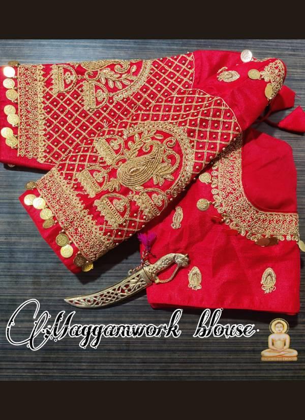 Ruhi Fashion Heavy Phantom Silk Golden Thread And coding Work Blouses Collection
