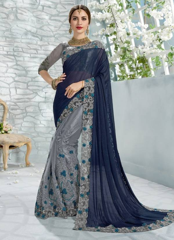 Nakshatra Fashion Studio Vichitra Silk Fancy Embroidery Work Wedding Wear Designer Sarees Collection