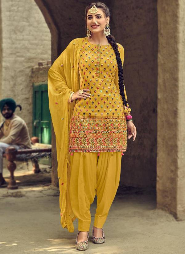 Eba Lifestyle Ruby Pure Semi With Heavy Embroidery Work Patiyala Suits Collection