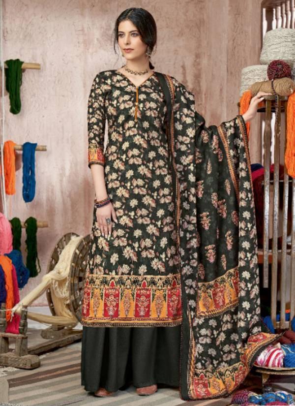 Alok Suit Kashikaa Series S-526-001 - S-526-010 Wool Pashmina Digital Style Print With Fancy Swarovski Diamond Winter Suits Collection