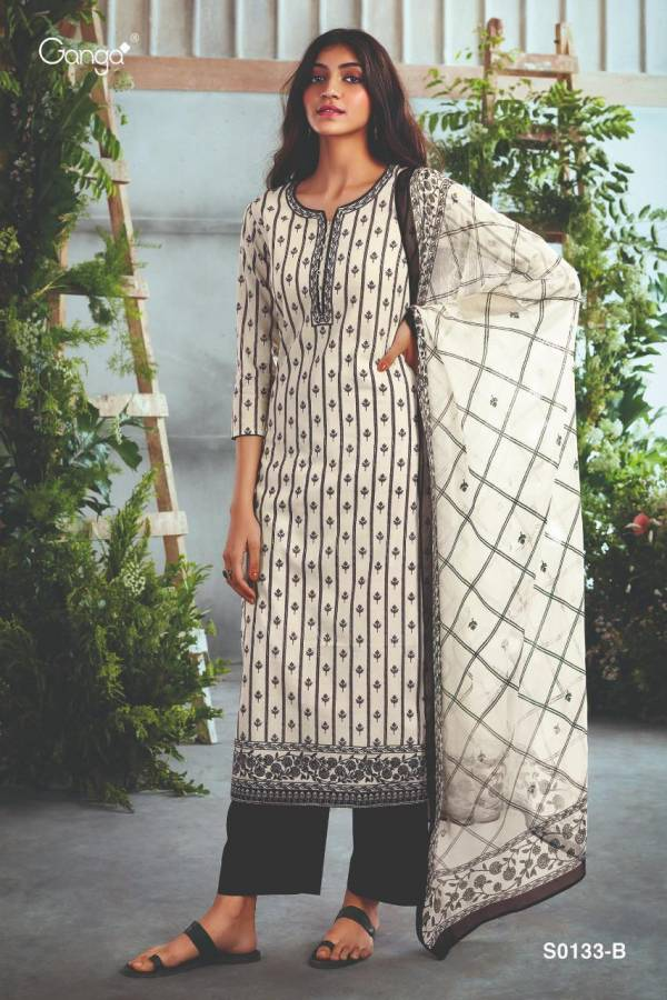 Ganga Mayra 133 Cotton With Embroidery Work Salwar Suits Collection