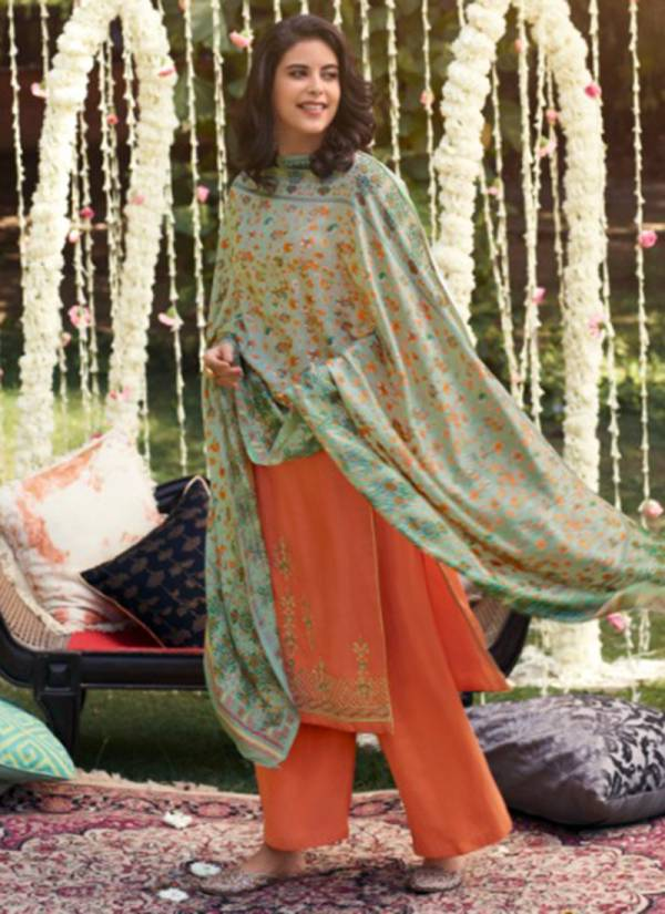 Glossy Misti Series 783-790 Pure Silk Pashmina With Fine Embroidery Work New Designer Winter Special Palazzo Suits Collection