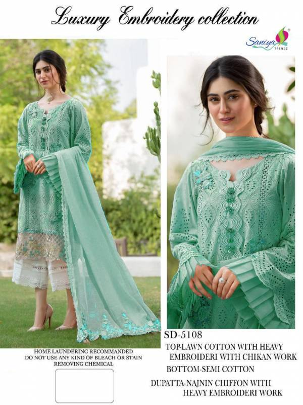 Saniya Trendz Luxury Lawn Collection Series 76001-76003 Pure Cambric Cotton With Chikan & Embroidery Work Pakistani Suits Collection