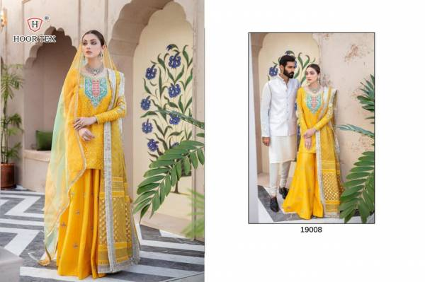 Hoor Tex Eid Collection Vol 1 Havey Fox Georgette With Embroidery Work Pakistani Suit Collection