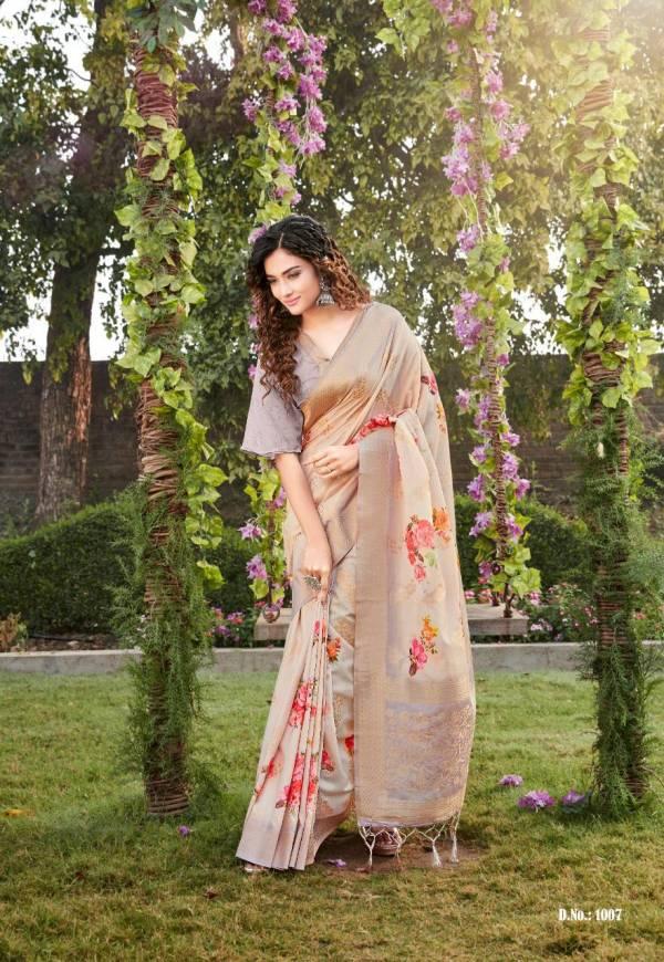 Rajtex Vrindavan Series 1001-1008 Soft Silk Weaving With Beautiful Floral Digital Printed Designer Sarees Collection
